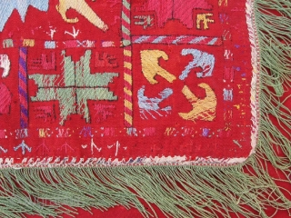 Antique rare Uzbek nomads Lakai embroidered piece, late 19th. Silk, wool embroidery on red VERY fine kilim, all dyes is natural. In good condition, have damaged places, see photos. Size is 200-190  ...