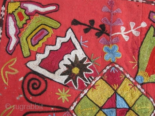 Antique Uzbek Lakai nomads tent decoration, silk embroidered on red wool foundation, circa 1900. Size is 42-40 cm, 17x16 inches. In very good condition, all dyes is natural.