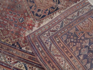 ANTIQUE TRIBAL QASHQAI PERSIAN RUG