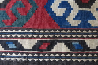 """Caucasus kilim bedding bag without end panels, saturated natural dyes with very fine weave and bold motifs. Circa 1900 or earlier - size: 66"""" X 42"""" -- `68 cm x 108 cm"""