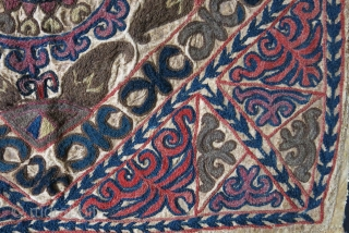 """Kirgiz mirror cover or yurt hanging, wool embroidery on leather, sewn on a plain black cotton. Circa : 19th cent size: 20"""" X 20"""" - 50 cm X 50 cm"""