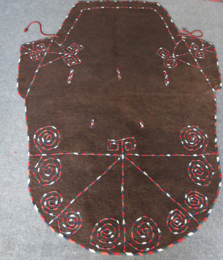 "Turkmen Goklan Horse cover wool embroidery on natural brown felt. Circa 1920s or earlier. Size : 82"" X 63"" -- 210 cm X 160 cm"