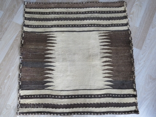 """Afshar minimalist sofreh - woven with all natural undyed wool. couple small 2"""" diameter unvisibale repairs, in very good condition. Circa 1900 - 1920s Size : 35"""" X 34"""" - 89 cm  ..."""