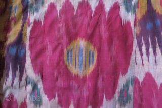 "Uzbekistan Shoi - silk/ on silk quilted Chapan. Adras ikat facing and Printed cotton lining. very small minor holes in several places. Circa 1900 - size: Arm to arm 66"" - 168  ..."