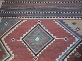 """Qashkai tribal all wool kilim, natural colors, some small area wears but still in strong condition and small area old repairs.  Circa mid- 19th cent, size : 107"""" X 65"""" -  ..."""
