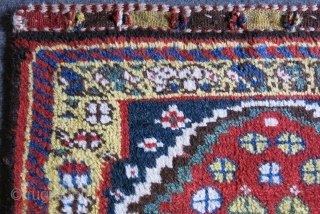 """Luri Qashkai Gabbeh bag face with full thick pile. Saturated colors with silky wool.  Circa 1900 or earlier size: 29"""" X 26"""" - 74 cm X 66 cm"""