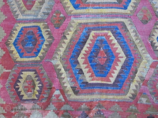"""Central Anatolia - Cumra / Chatalhoyuk land of Kilims, survived battles and storms and still hanging up there with old repairs & wounds. Circa : early 19th cent. Size: 63"""" X 45""""  ..."""