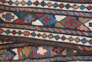 """Shahsavan nomad ceremonial tent band. complete, reverse sumak weave with saturated natural colors, great condition. Circa 19th cent. size 62"""" long 6"""" wide - 158 cm X 15 cm"""