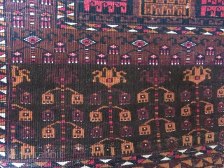 Saryk squarish Engsi - Turkmen yurt entry rug. silk cotton and wool traditional mixture, some low pile areas but overall in good condition. wool foundation with original ends and most selvages. Circa  ...