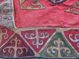 """Kirgiz Talismanic wall hnaging - made form cut-pieces of leather and broadcloth. Little beaten up but survived. 19th cent. size: 21"""" X 21"""" - 53 cm X 51 cm"""