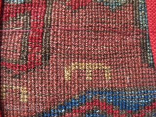 """Eastern Turkey - Kurdish rug fragment good pile and colors- wears can be seen. Circa second half of 19th or earlier. Size: 26"""" X 15.5"""" - 66 cm X 38 cm"""