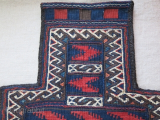 """Baluch salt bagin great condition with goat hair side wrapping. Circa 1900 Size : 21"""" X 13"""" - 53 cm X 33 cm"""