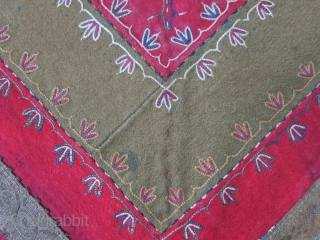 "Turkmen wool - broadcloth bokhca with cotton printed backing. Some patched and stitched repaired wears as seen on the images. It is freezed. Circa 1900 size : 28"" X 28"" - 72  ..."