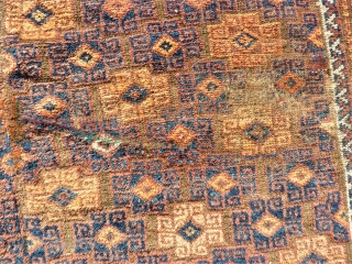 Very rare antique Main Baluch rug. Size:155 x 245 cm. Used condition. Small holes and little repair. Some lost wool. Some area with thin wool. Wonderful kilim ends.