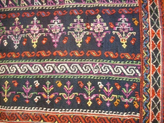 Old Afshar? horsecover. Flatweave. Size. 152 x 191 cm. Good condition. Wonderful piece. Some small repairs. Origin Lapiz.