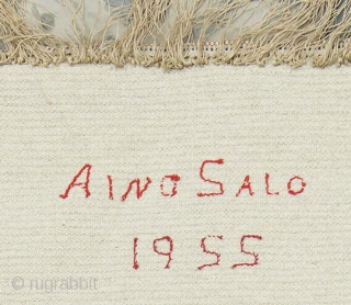 Finnish ryijy handmade by Aino Salo. Ryijy's (Swedish 'rya') are traditional Scandinavian wool rugs with a long pile, often 'shaggy', and usually between 2.5cm to 5cm (1 to 2 inches) in length.  ...