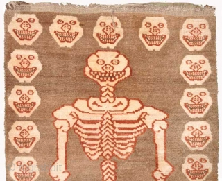 Tibetan tantric rugs are the seats of power generally employed by practitioners of esoteric Tibetan Vajrayana Buddhism. These rugs typically depict a flayed skin of an animal or human, or in some  ...