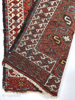 """Antique Baluch rug with an unusual version of the double prayer design. Both niches created by offsetting the ivory border rather than the typical continuous design. The """"tile"""" design field is uncommon  ..."""