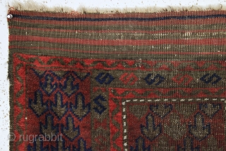 antique diminutive baluch prayer rug with an unusually simple but effective design. All natural colors. Very oxidized browns. Thin with soft blanket like handle. Overall complete with original selvages and kelim ends.  ...