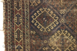 """Antique baluch rug. The mythical baluch that costs less than a family dinner. Rough as shown. 19th c. 3' x 4' 11"""""""
