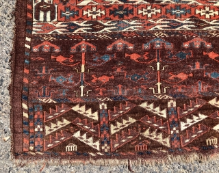 """Early yomud ensi with elegant drawing, rich colors and overall good condition. Beautiful skirt panels. Good pile. All excellent saturated colors. Reasonably clean. Good age. 3rd qtr. 19th c. 4'3"""" x 5'  ..."""