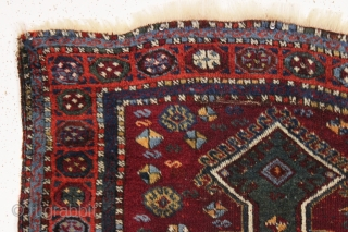 antique little east anatolian or yoruk prayer rug with a true green mihrab. Pile varies from good thick high pile to lower pile in center as shown. Few small creases. Good saturated  ...