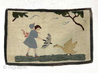 """American hooked rug. Charming little rug. As found, needs a good cleaning. Pretty good condition with a few tiny edge pulls or glitch's. 20th c. 25"""" x 38"""""""