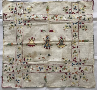 Set of two figurative antique Chamba Rumal with double-sided embroidery. Both have scenes of Krishna and Raas Lila with Gopis. More details here: https://wovensouls.com/products/1368-lot-of-two-antique-double-sided-silk-embroidery-chamba-rumal-textiles