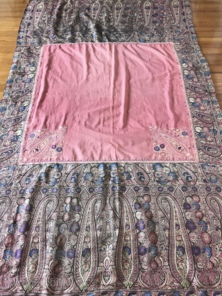 Exquisite Botehs in this antique Kashmir Shawl (with Silk) fragment! More details of Asset 1165 here: https://wovensouls.com/collections/weekly-sale  Please have a look.