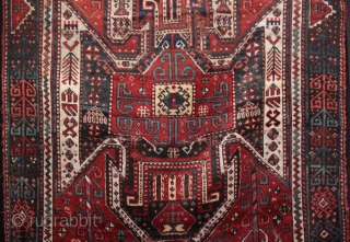 Beautiful mid 19th c. East Anatolian large Kazak shield rug fragment from Kars
