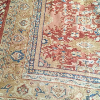10x14 real Sultanabad   Some worn area needs repiling gold border and gorgeous designs