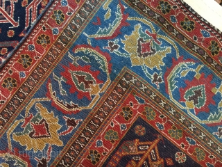 4-6x7-6 very fine antique  Afshar, Kurk wool signed and dated 