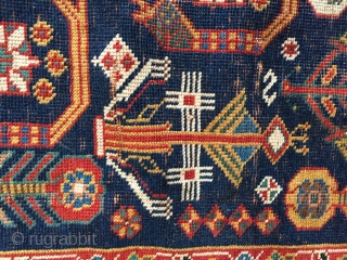 4-6x7-6 very fine antique  Afshar, Kurk wool signed and dated  Some wear