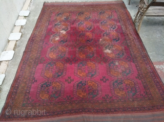 Colorful Ersari main carpet (348x248cm), as found condition, extremely dusty with holes, all visible on pictures. Cheap restoration project for a very colorful and big piece (more than 12sm!). High pile all  ...
