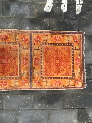 "#1909 Tibet rug, three joined rug,Orange background with Buddha's warrior attendant's stick pattern. It's a kind of Buddha power utensil called called"" Ba Zhe Luo"" being Lama's power stick.symbolized the power for  ..."