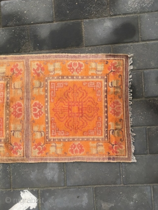 """#1909 Tibet rug, three joined rug,Orange background with Buddha's warrior attendant's stick pattern. It's a kind of Buddha power utensil called called"""" Ba Zhe Luo"""" being Lama's power stick.symbolized the power for  ..."""