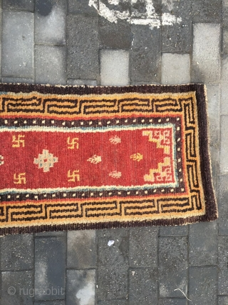 a888 Tibet runner . red  background with Buddha treasures pattern, Hui veins selvage to symbolize longevity, rich and good fortune.the runner used in Tibet temple. good age. size 310x70cm(121x27'')