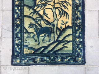 """Chinese Baotou rug, about 120 years, there is a Chinese idiom called """"washing a horse in the willow forest"""", according to the idyllic mood of the idiom composition of the pattern.size 78*158cm(30*62"""")"""