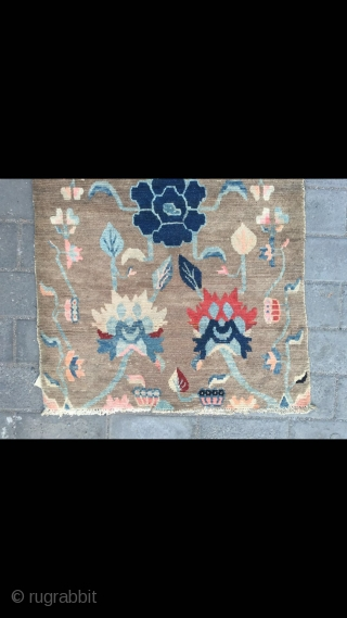 """Tibetan rug, light camel background with nice peony flower pattern. Good age and condition. Size 138*88cm(54*34"""")"""
