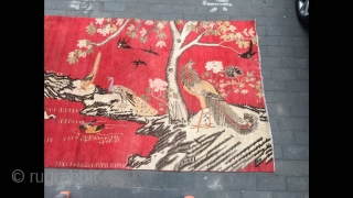 "#2051 Xinjiang carpet, it was produced in Khotan area in Xinjiang. Red background with phoenix, peacock, crane, mandarin duck etc. lively bird pattern, good age and quality. Size 185*290cm(72*113"")"