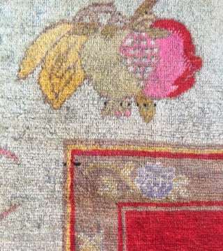 """Chinese Xinjiang rug, red background with  little lion pattern, fruit veins selvage, the pronunciation of """"tai Shi"""", means an official position in ancient China. Good age and condition. Size 180*285cm(70*111"""")"""