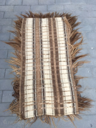 #1653 Tibet rug, The lama rug was woven by Tibet yak wool,the wool about one inch long. Nature wool color, old technology, very rare one. size 150*80cm(59*31'')