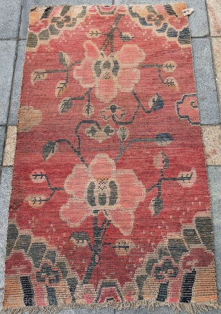 """Tibet rug, red background with beautiful flowers pattern, good age and condition.size 86*151cm( 34*59"""")"""