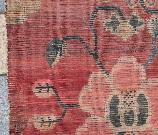 "Tibet rug, red background with beautiful flowers pattern, good age and condition.size 86*151cm( 34*59"")"