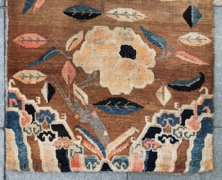 """Tibet rug, very nice three peony flowers with lucky clouds veins. Good age and condition. Size 86*165cm(34*64"""")"""