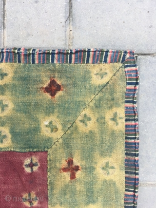 Tibet lama cushion. Green backgound with full of ball flowers, Middle of red square with ball flowers pattern. Woolen cloth with very good age. Size 60*60cm