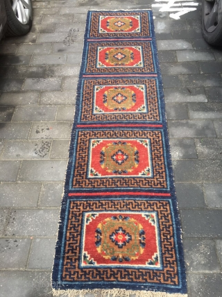 #1775 Tibet rug, five joined rug, blue background with red Kui flowers pattern,good quality.size 240*63cm(94*25'')