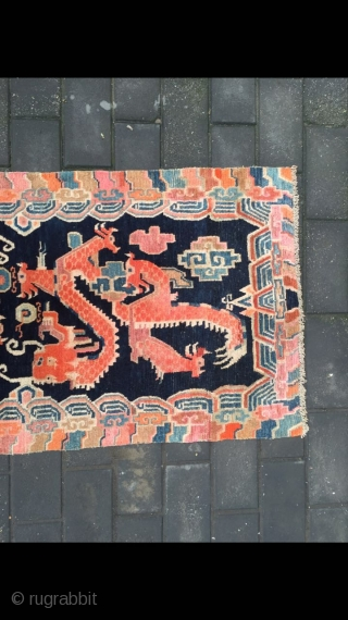 #1901 Tibet rug, blue background with red lively dragon pattern, lucky culorful cloud selvage. good age and quality. size 155*80cm(60*32'')