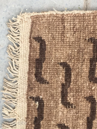 Tibet tiger rug, Good age and very good condition, Complete one not cutting. It with very thin wool , soft and bright. Wool warp and weft. Size 77*62cm