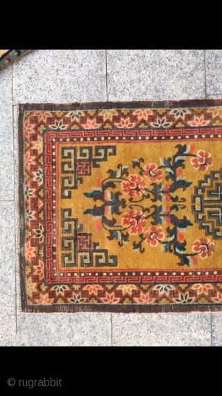 """Ningxia rug, yellow background with single group flower veins, around full nice flower selvage. Good age and condition. Size 128*62cm(49*24"""")"""